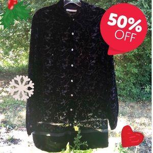 🎀 Button black cut velvet 20s style tunic Sz 18